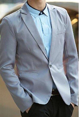 Jofemuho Men Formal Slim Wedding Party Solid 1 Button Jeans Denim Pants XS Grey by Jofemuho (Image #1)