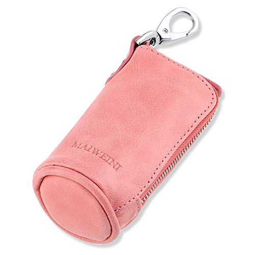 Multi Soft Genuine Leather Coin Purse Pouch, Car Key Case Wallet with Zipper,Pocket Wallet with Chain/Ring for Men Women (Pink)