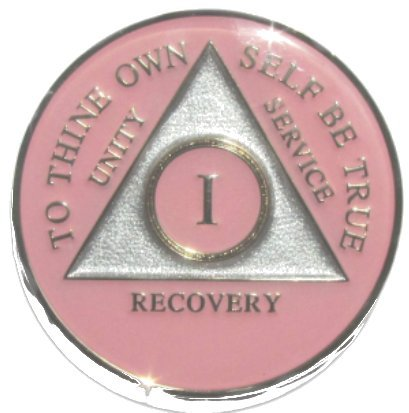 32 Year Pink Tri-Plate Alcoholics Anonymous Medallion- AA Sobriety Chip(1 Year Shown)