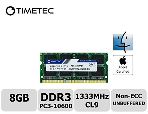 Timetec Hynix IC Apple 8GB DDR3 1333MHz PC3-10600 SODIMM Memory Upgrade For MacBook Pro 13-inch /15-inch /17-inch Early/Late 2011, iMac 21.5-inch Mid/Late 2011,27-inch Mid 2010/2011 (8GB) (1333 Server Memory)