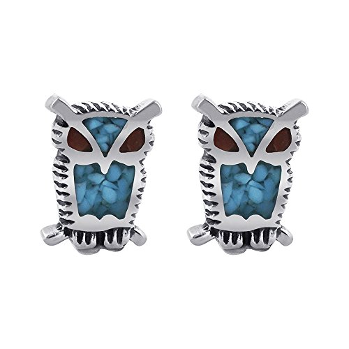Gem Avenue 925 Sterling Silver Post Back Turquoise Coral Owl Southwestern Style Stud Earrings for Women