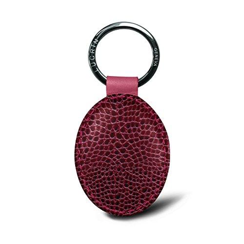 Fuchsia Calfskin Leather - Lucrin - Oval Key Ring - Fuchsia - Crocodile Style Calfskin