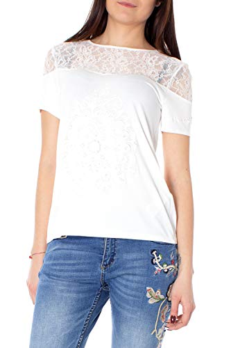 shirt Desigual Sleeve Blanc Woman WhiteFemme Short Cannes T SUzMVp