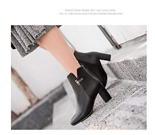 Martin 33 41 Botines botas color 37 Invierno Espesor E Mujer Tamaño Fuxitoggo De Negro Retro Botas Puntiagudas Para tamaño Camello Otoño Con vzaPaSZq