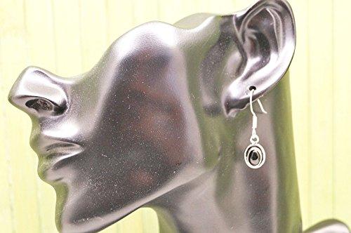 Boucles d'oreilles plaqué argent avec Onyx 10 mm x 34 mm