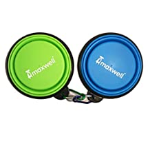 (2) Maxwell Collapsible Dog Bowls Set, Silicone BPA Free FDA Approved, Foldable Expandable Cup Dish for Pet Cat Food Water Feeding Portable Travel Bowl Free Carabiner