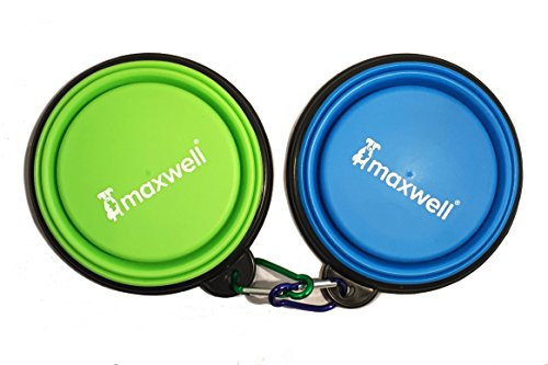 (2) Maxwell Collapsible Dog Bowls Set, Silicone BPA Free FDA Approved, Foldable Expandable Cup Dish for Pet Cat Food Water Feeding Portable Travel Bowl Free (Go Dog Dog Crate)