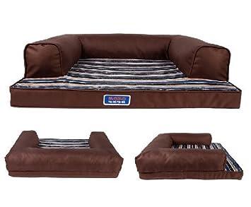 kondrao alta elástica Oxford mascota perro de rayas de color sofá cama grande perro cojín marrón: Amazon.es: Productos para mascotas