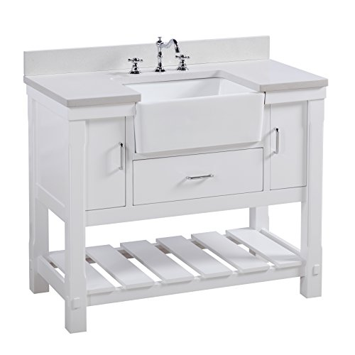 Fairmont Designs Bath Vanities - Charlotte 42-inch Bathroom Vanity (Quartz/White): Includes a White Quartz Countertop, White Cabinet with Soft Close Drawers, and White Ceramic Farmhouse Apron Sink