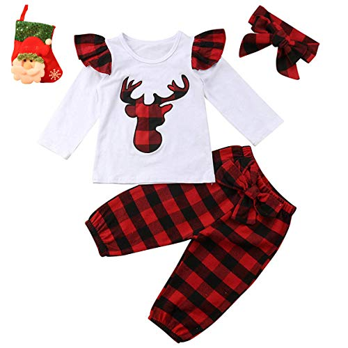 Newborn Baby Girls Christmas 4pcs Outfits Deer Applique Check Long Sleeve T-Shirt Tops+Plaid Long Pants+Stocking+Headband(12-24 Months, White&Red)