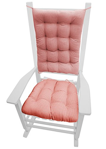 Rocking Chair Pad Set, Madrid Gingham Check, Rocker Seat Cushion & Back Cushion, Tufted, Reversible Latex Foam Filled Cushion (Standard, Red)