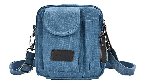 AalarDom Mujeres Viajar Lona Bolsas de hombro Satchel-Style Bolsos cruzados,TSMBH181145 Azul