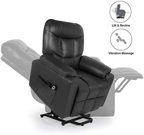 Home Power Lift Recliner Chair for Elderly with Massage, Faux Leather Lounge Chairs for Living Room Classic Single Sofa with Side Pockets Home Theater Seat Black
