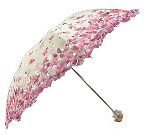 New Arrival Folding Travel Sun Lightweight Umbrella Lady's Parasol Sunblock UV Protection UPF 50+ Compact Size with Black Underside Keep Cooler in Hot Summer! (Pink)