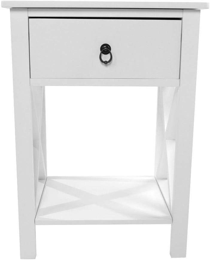 White Sofa End Side Bedside Table Nightstand Storage Wood Bedroom w//Drawer Shelf