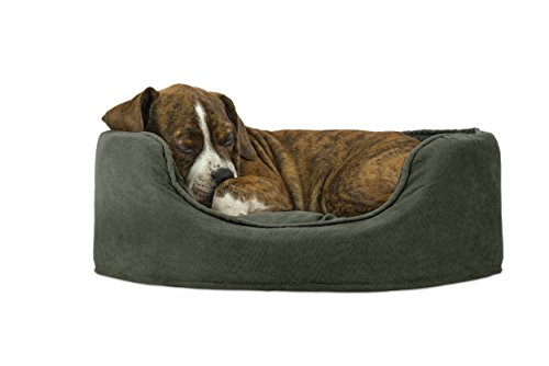 Fleece Nest Dog Bed - Furhaven Pet NAP Oval Terry Fleece and Suede Bed for Dog or Cat, Small, Forest