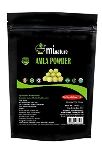 Organic Amla Powder by mi nature   Indian Gooseberry/Emblica Officinalis   USDA NOP Certified 100% Organic   Vegan   (16 OZ)