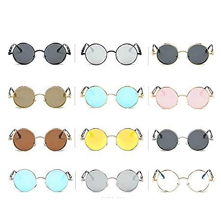 Amazon.com: Kasuki Mens Mirrored Sunglasses Round Circle Sun ...
