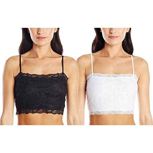 2 Pack Women's Breathable Stretch Lace Half Cami (X-Large, Black/White)