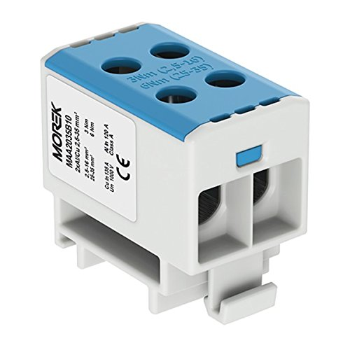 Verteilerblock f 1000V AC//DC Klemme isoliert OTL 35-2 MAA2035B10 Morek 4047 Al//Cu geeignet 4x2,5-35mm2 blau 1po