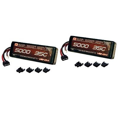 Venom 35C 3S 5000mAh 11.1V LiPo Battery with Universal Plug (EC3/Deans/Traxxas/Tamiya) x2 Packs