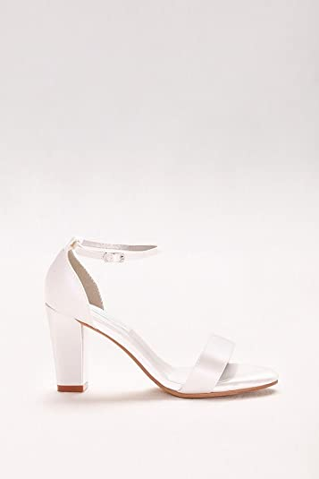 19cc0c9f213f David s Bridal Dyeable Ankle-Strap Block Heel Sandals Style MADDOXWHITE