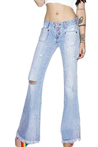 Jeans L Dazosue La Rasgado Jean Wasit Pantalones Fit Denim Bottom Bell Alta Mujer Azul qqnIxAZw6O