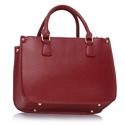 ANNA GRACE - Bolso mochila  de piel sintética para mujer Design 1 - Burgundy
