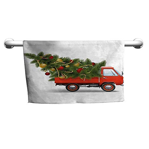 flybeek Valentines Christmas,Red Retro Style Farm Truck and Big Christmas Tree with Tinsel Balls Candy,White Red Green,Hooded Towel for Adults]()