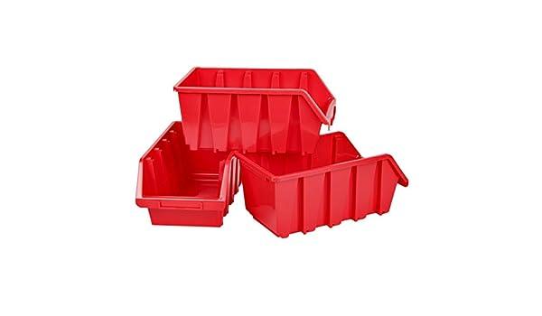 Cajas de almacenamiento (3 unidades, apilables, 8 L), color rojo ...