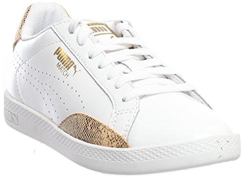 Womens Approach Tennis Shoes (PUMA Women's Match Lo PNT Snake Wn's Tennis Shoe, White/Gold, 8 M US)