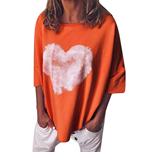 XVSSAA Ladies Tie-Dye Love Heart Print Tops, Womens Casual Lapel Neck T-Shirt Short Sleeve Buckle Blouse Tops Orange