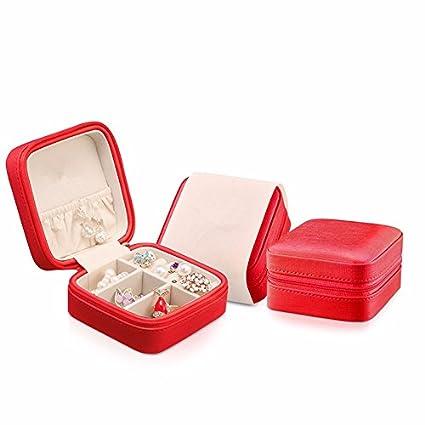 lzzfw Joyero Caja de regalo de Navidad Almacenamiento Viajes Pendientes portátiles Anillo de caja