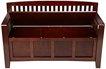 Linon Home Dcor 83985WAL-01-KD-U Linon Home Decor Cynthia Storage Bench, 50 w x 17.25 d x 32 h, Walnut
