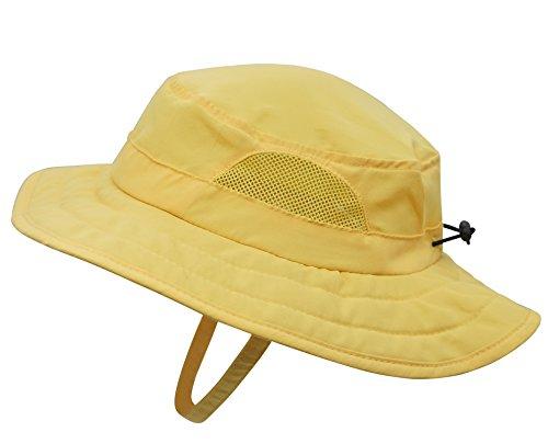 Connectyle Kids UPF 50+ Mesh Safari Sun Hat UV Sun Protection Hat Summer Daily Bucket Play Hat Yellow