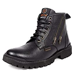 Bacca Bucci® New York Men's Military Genuine Leather Motorcycle Combat Boots for Men