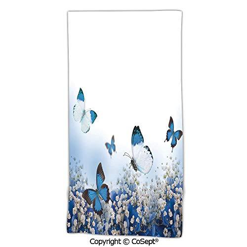 PUTIEN Oversized,Soft Bath Towel,Blue Hydrangeas and Butterflies Rural Scenery Freshness Spring Yard Garden Decorative,Made with 100% MicrofiberBlue Black White