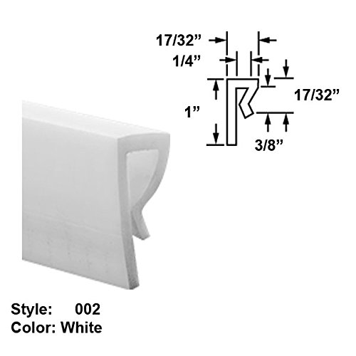 Food-Grade UHMW Plastic J-Channel Push-On Trim, Style 002 - Ht. 1'' x Wd. 17/32'' - White - 25 ft long by Gordon Glass Co.