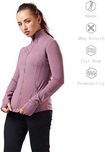 Aitangee Womens Sports Running Yoga Jacket Slim Fit Full Zip Track Jacket Turtleneck Workout Jacket