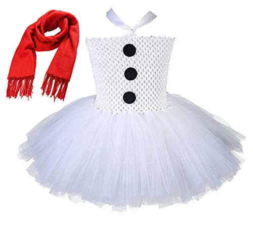 Tutu Dreams Snowman Costume New Years Party White Tutu Dress for Girls (XL, White)