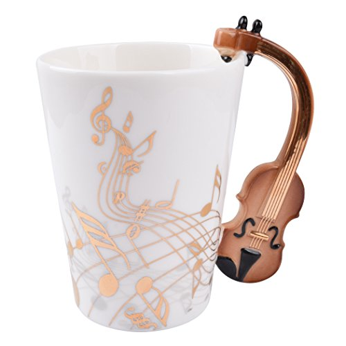 Violin Music Unique Handle Art Musical Notes Holds Tea Coffee Milk Ceramic Mug Cup 12 oz Best Gift,Gold