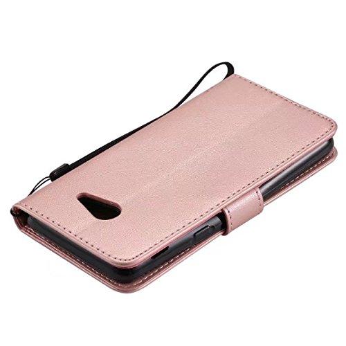 JIALUN-Personality teléfono shell Para Samsung Galaxy J5 2017 Case, TPU / cuero de la PU en relieve patrón de flores cubierta de la caja con la función de la carpeta y el acollador y titular y Kicksta Rosegold