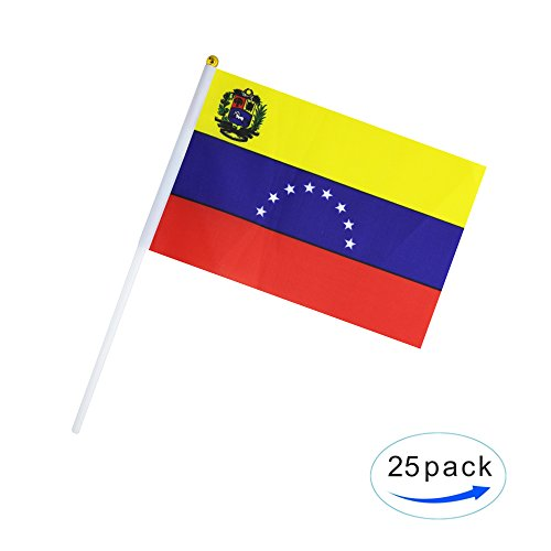 25 Pack Hand Held Small Mini Flag Venezuela Flag Venezuelans Flag Stick Flag Round Top National Country Flags,Party Decorations Supplies For Parades,World Cup,Festival Events ,International Festival