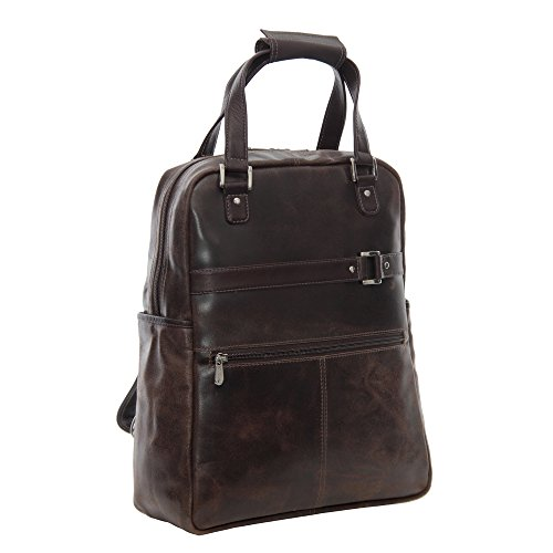 Piel Leather Side Zip Backpack - Piel Leather Vintage Laptop Carry-All Convertible Backpack, Vintage Brown, One Size