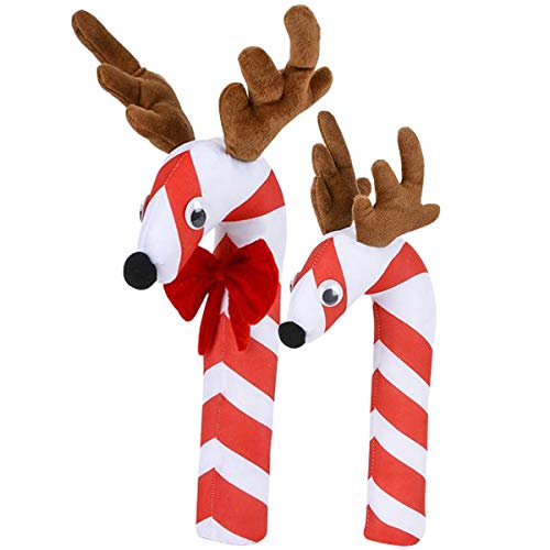 Off the Wall Toys Holiday Christmas Reindeer Candy Cane Plush Stocking Stuffer (Combo)