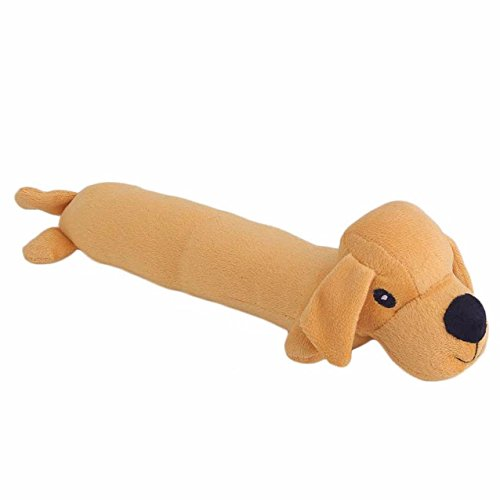 Cute Dogs Shape Orange Pet Dogs Cats Biting Chew Bite Resistant Molar Toy Play Funny Plush Sound (Happy Junkyard Puppy)