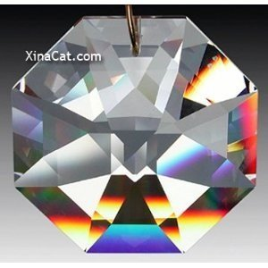 Beautiful Lead Crystal - Swarovski 8115-50mm Lily Octagon Crystal Prism SunCatcher with Etched Logo
