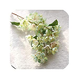 Artificial Flowers Cherry Blossom for Wedding Decoration Silk Cherry Branch for Home Party Decoration Fake Flower,Light Green 13