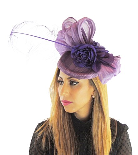 Hats By Cressida Silk Sinamay & Silk Flower Elegant Ladies Ascot Wedding Fascinator Hat Purple by Hats By Cressida
