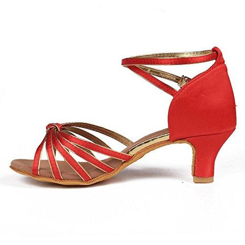 heels 11Corlors YFF 7cm Tango Bal latine Chaussures danse femmes 5cm de 5cm red ppwzPq1